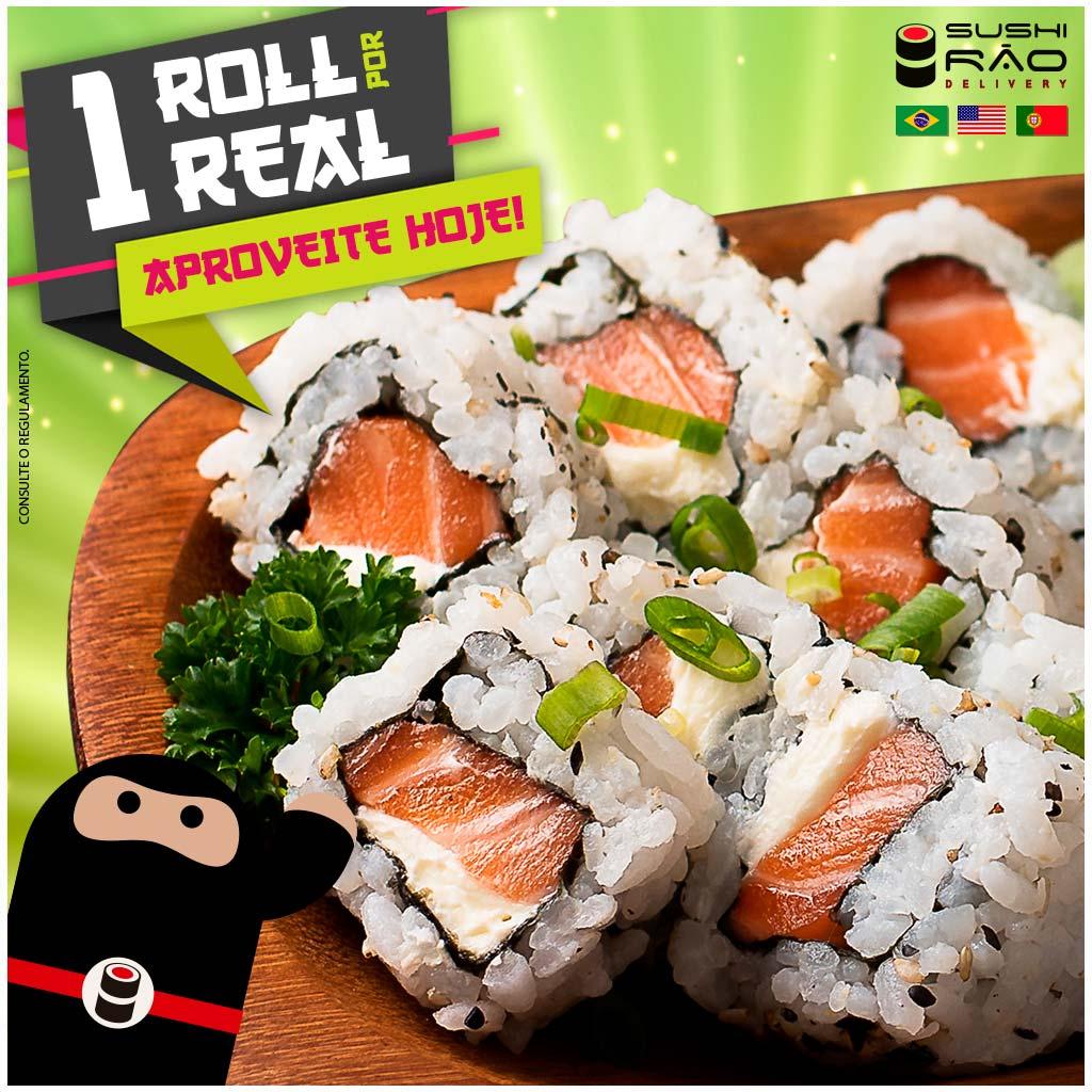 Promoção de Roll por 1 Real - Delivery Sushi Rão, o Maior do Brasil. O melhor da Comida Japonesa na sua casa!