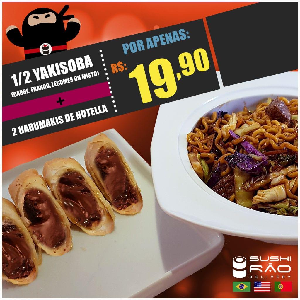 Promoção de Yakisoba e Harumaki de Nutella - Delivery Sushi Rão, o Maior do Brasil. O melhor da Comida Japonesa na sua casa!