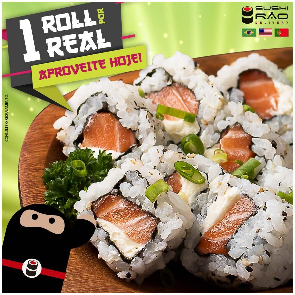 Promoção de Japonês 1 Roll por 1 Real - Delivery Sushi Rão, o Maior do Brasil. O melhor da Comida Japonesa na sua casa!